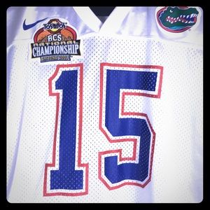 Tim Tebow Sz Medium Gators Jersey White 2007 #15